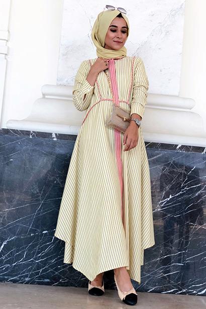 Biyeli Elbise Sarı