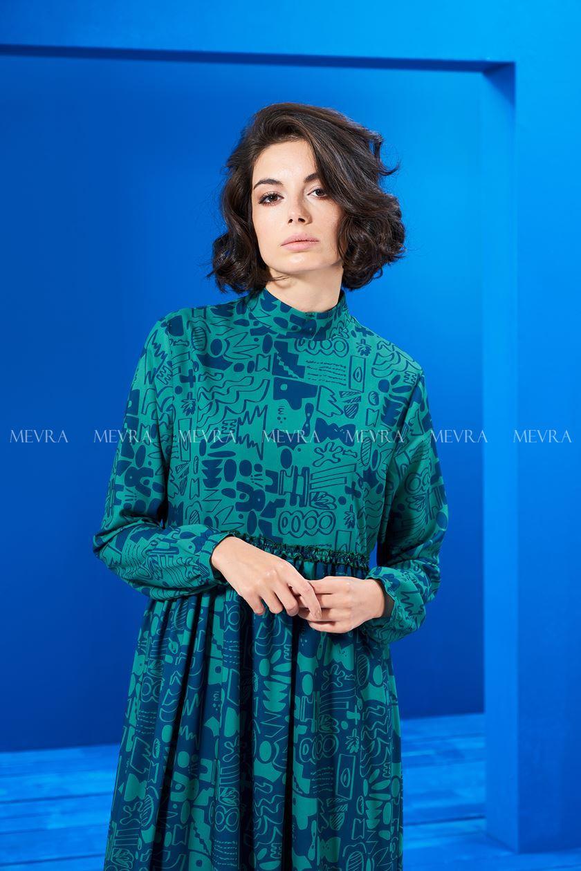 Beli Büzgülü Elbise Laci-Yeşil