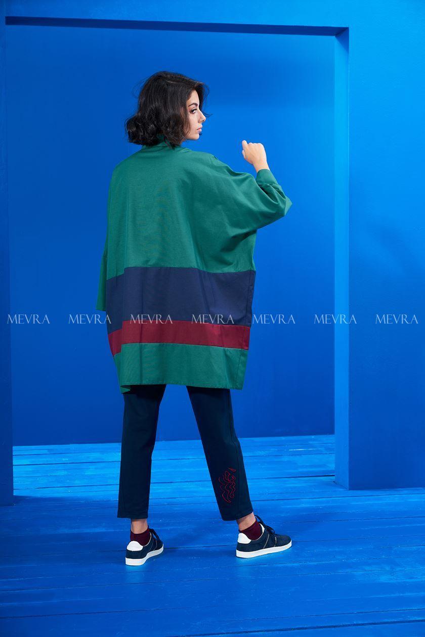 Yeşil Tunik Laci-Bordo Blok Renkli