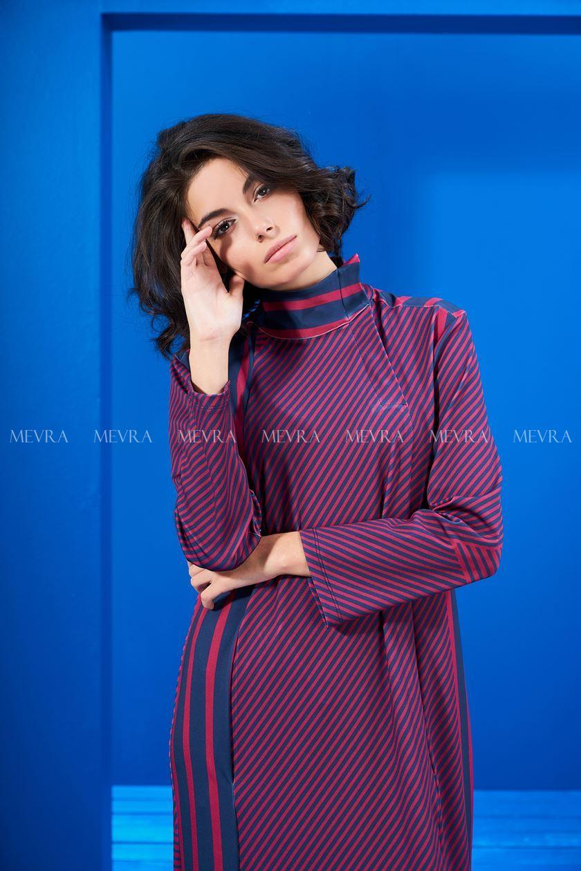 Lacivert-Vişne Çizgili Elbise