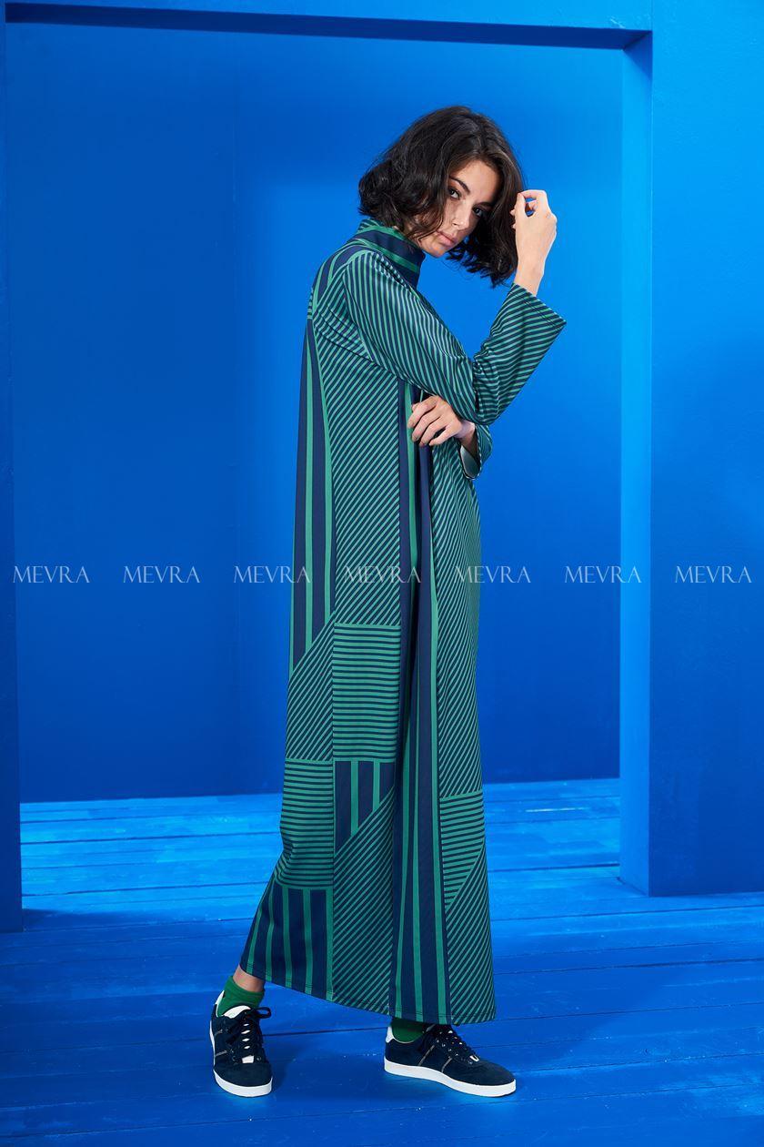 Lacivert-Yeşil Çizgili Elbise