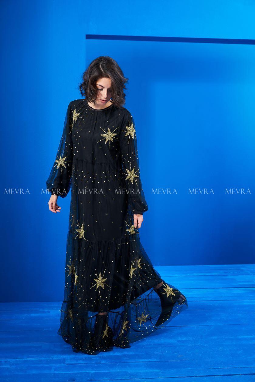Siyah Nakış Detaylı Tül Elbise
