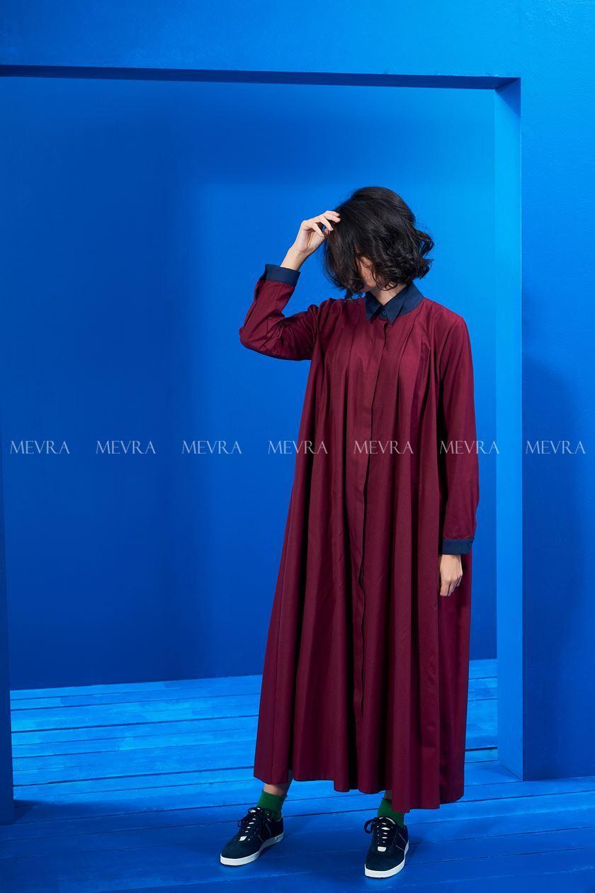 Yaka Detay Elbise Bordo-Laci