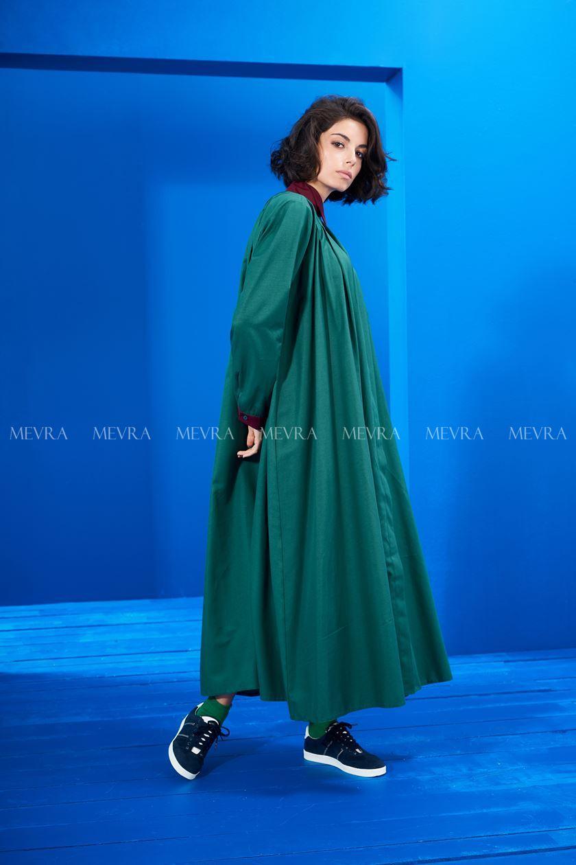 Yaka Detay Elbise Yeşil-Laci