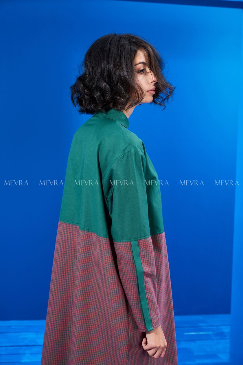 Yeşil Blok Ekose Elbise