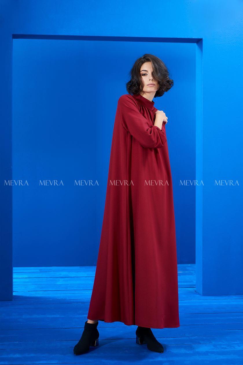 Kırmızı Büzgülü Elbise